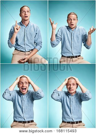 The surprised young man in blue shirt standing over blue studio background. Collage of different emotions