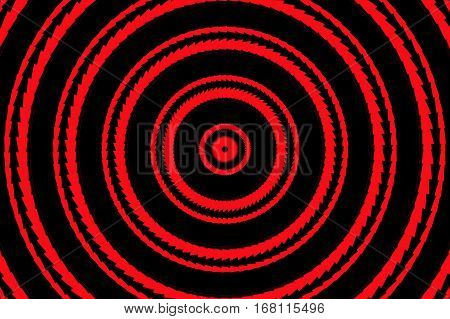 Illustration of abstract red and black concentric circles