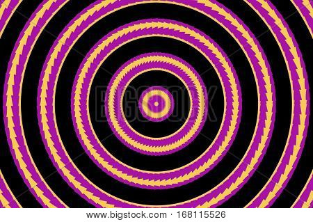 Illustration of abstract purple and orange concentric circles
