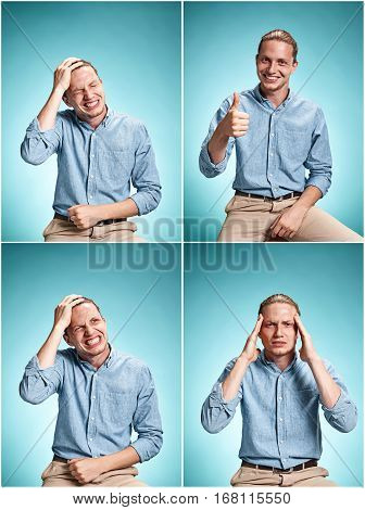 The young man in blue shirt standing over blue studio background. Collage of different emotions