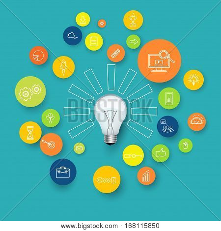 light bulb with rays on white background