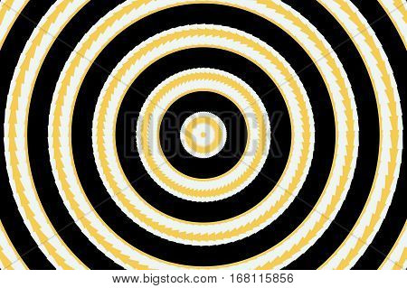 Illustration of abstract orange and white concentric circles