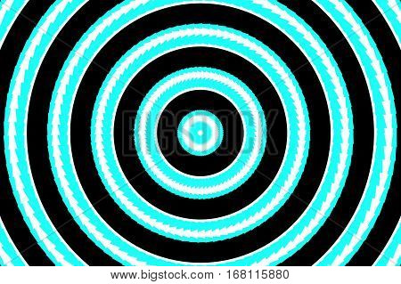 Illustration of abstract cyan and white concentric circles