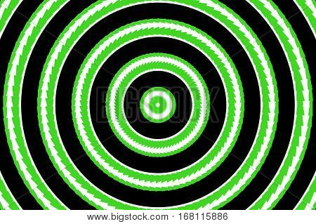 Illustration of abstract green and white concentric circles