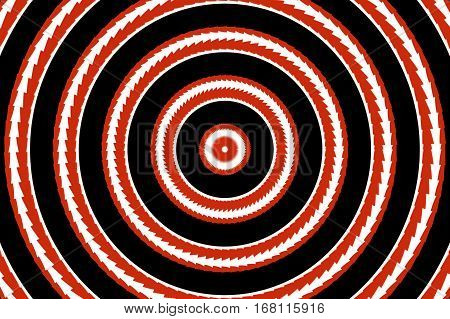 Illustration of abstract red and white concentric circles