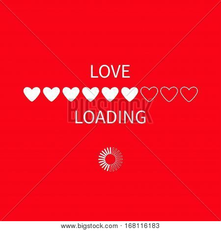 Progress status bar circle icon. Love loading collection. White heart. Funny happy valentines day element.Web design app download timer. Red background. Flat trendy object Isolated Vector illustration