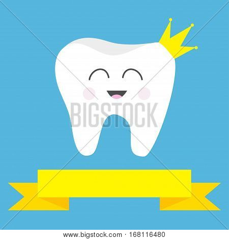 Tooth health icon wearing crown. Cute funny cartoon smiling character. King queen prince princess Oral dental hygiene. Children teeth care Yellow ribbon Baby background Flat design Vector illustration
