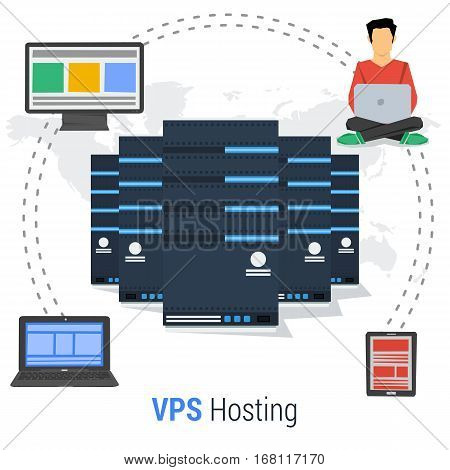 Vector concept of Virtual Private Server - VPS - and online cloud storage and easy access to personal data with various devices. Web administrator