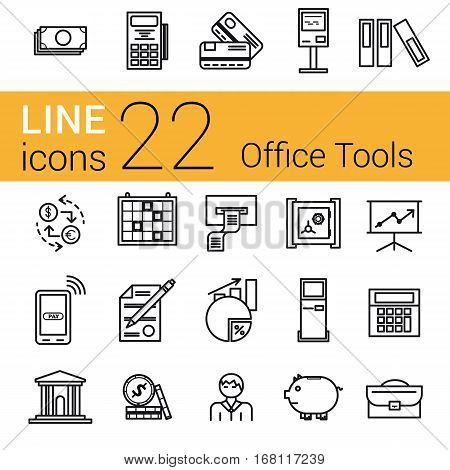 Vector set 22 financial icons on white isolated background. Accountant money and coin atm terminal and banking equipment in thin lines
