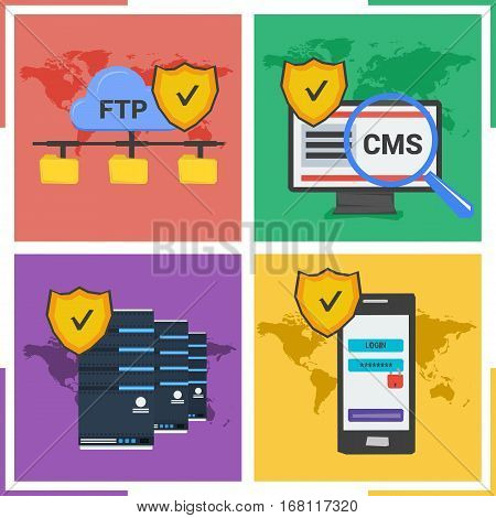 Vector four concepts of safe data and internet using. Web safe server. CMS system and password access to personal web page. Ftp connection in colored background square banner in flat style