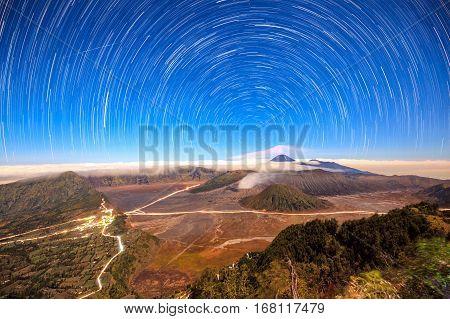 Star trail over Mount Bromo volcanoTengger Semeru National Park East Java Indonesia