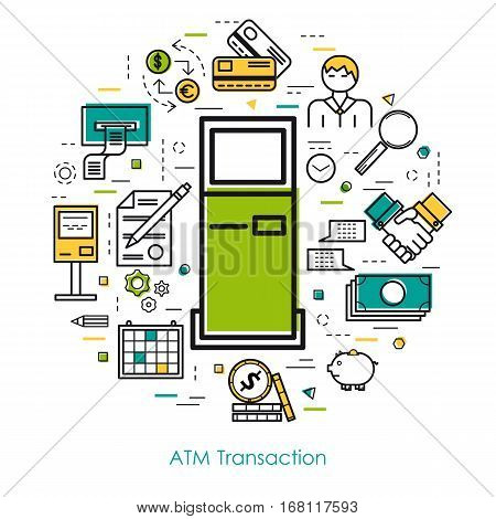 Vector thin line concept of atm transaction on white isolated background in modern art style. Green blue and yellow colors. Money and coin atm terminal and banking equipment