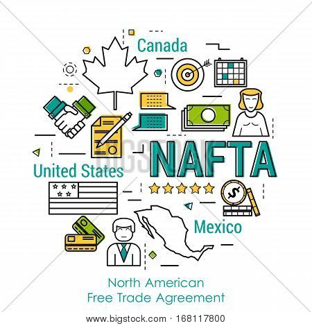 Vector line art round infographic of NAFTA concept with three country. North American Free Trade Agreement between USA Canada and Mexico