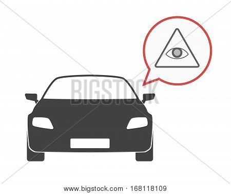 Isolated Car With An All Seeing Eye