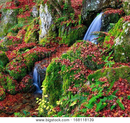 A small waterfall in autumn Kyoto Japan