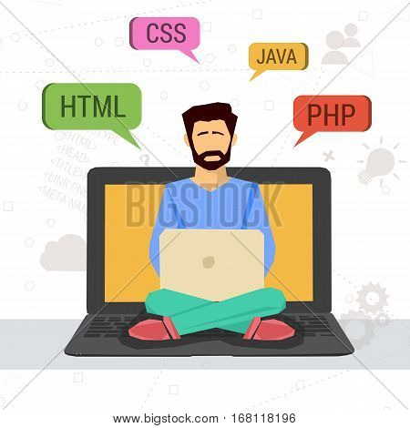 Vector illustration of working programmer sitting on a laptop with code signs CSS HTML and Java in flat style