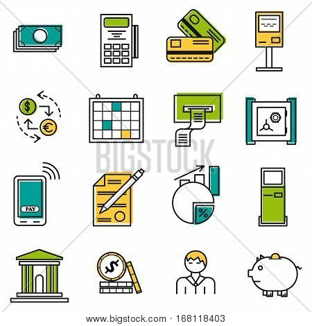 Vector set 22 colored financial icons on white isolated background. Accountant money and coin atm terminal and banking equipment in thin lines