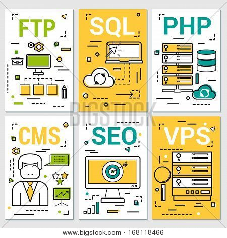 Vector thin line art concept of Six vertical banners of programming concepts - SEO VPS CMS and SQL