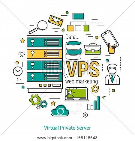 Vector thin line art concept of Virtual Private Server - VPS - and online cloud storage