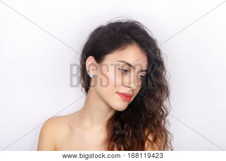 Beauty Portrait Of Young Adorable Fresh Looking Brunette Woman With Healthy Curly Hair Half Closed E