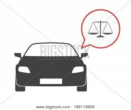 Isolated Car With A Justice Weight Scale Sign