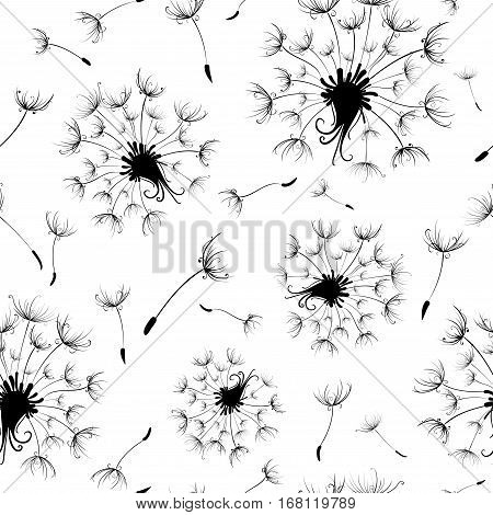 Seamless pattern of dandelions. Black and white texture with dandelions.