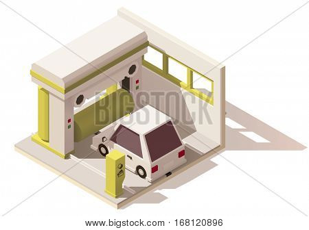Vector isometric low poly car wash icon. Includes car and automatic carwash machine