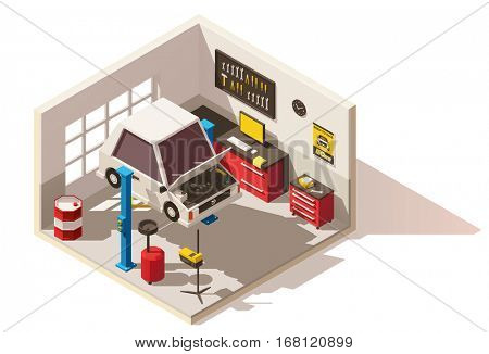 Vector isometric low poly car service center icon. Includes car on lift, automobile service equipment and tools