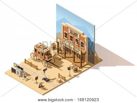 Vector isometric low poly wild west movie set. Includes camera on dolly, lighting and other movie shooting process equipment
