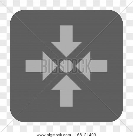 Shrink Arrows interface toolbar button. Vector icon style is a flat symbol inside a rounded square button light gray and gray colors chess transparent background.