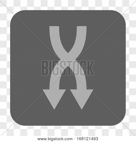 Shuffle Arrows Down interface toolbar button. Vector icon style is a flat symbol in a rounded square button light gray and gray colors chess transparent background.
