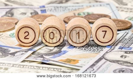 Small wooden barrels with numbers