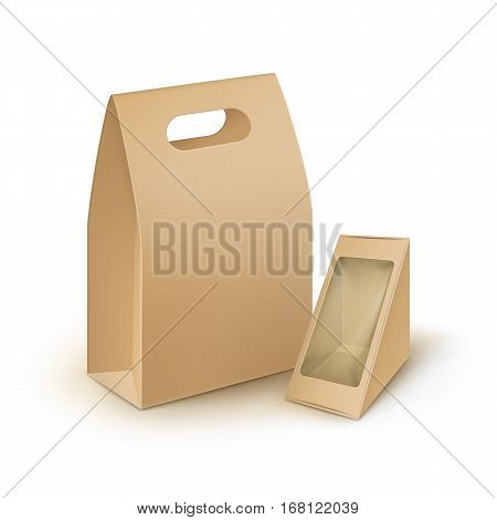 Vector Set of Brown Blank Cardboard Rectangle Triangle Take Away Handle Lunch Boxes Packaging For Sandwich, Food, Gift, Other Products with Plastic Window Mock up Close up Isolated on White Background