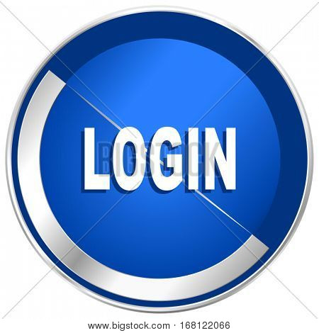 Login silver metallic web and mobile phone vector icon in eps 10.