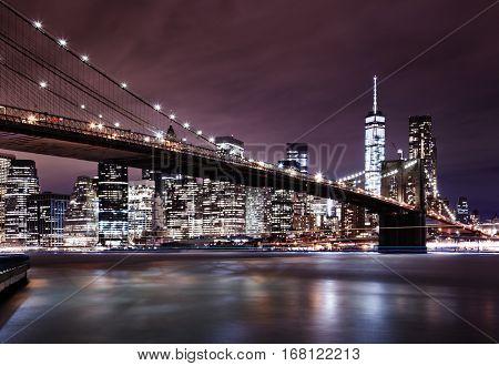 New York City, Manhattan and Brooklyn Bridge