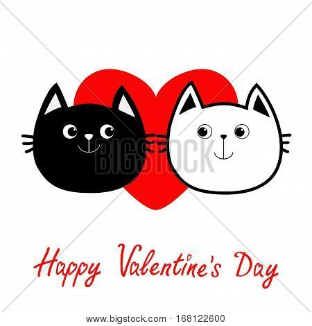 Black White contour Cat head couple family icon. Red heart. Cute funny cartoon character. Happy Valentines day Greeting card. Kitty Whisker Baby pet collection background. Isolated. Flat Vector