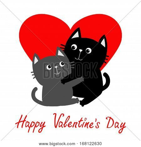 Black Gray Cat hugging couple family. Hug embrace cuddle. Red heart. Cute funny cartoon character. Happy Valentines day Greeting card. Kitty Whisker Baby pet White background. Isolated. Flat Vector