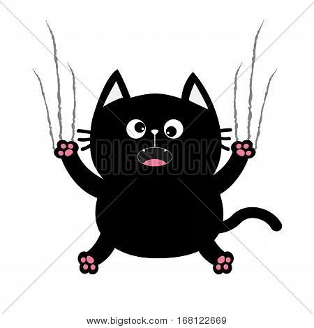 Black fat cat nail claw scratch glass. Cute cartoon screaming funny character. Excoriation track line shape. Baby pet collection. White background. Isolated. Flat design. Vector illustration