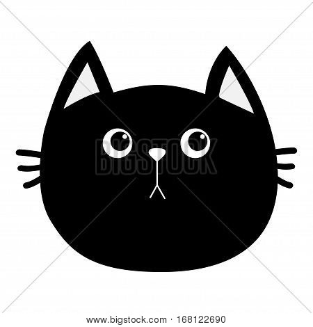 Black cat head icon. Cute funny cartoon character. Sad emotion. Kitty Whisker Baby pet collection. White background. Isolated. Flat design. Vector illustration