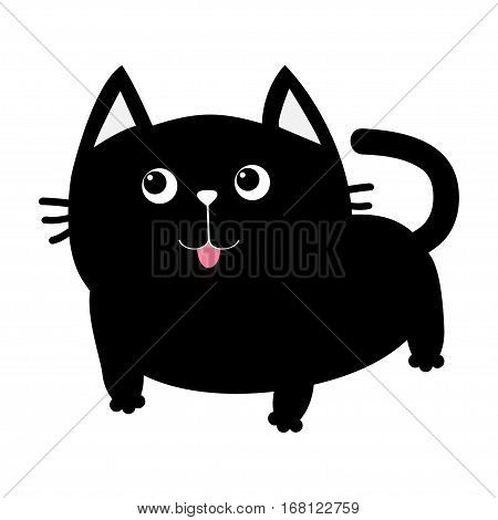 Black cat icon. Cute funny cartoon smiling character. Kawaii animal. Big tail whisker tongue eyes. Happy emotion. Kitty kitten Baby pet collection. White background Isolated. Flat design. Vector