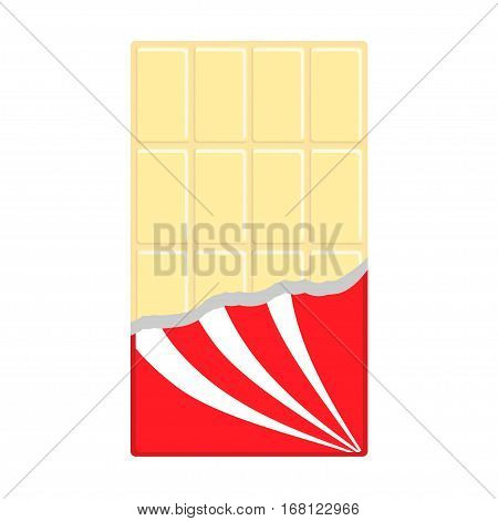 White chocolate bar icon. Opened red wrapping paper foil. Tasty sweet food. Rectangle shape dessert Vertical piece. Modern simple style. Flat design background. Isolated. Vector illustration