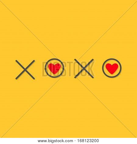 Xoxo Hugs and kisses Sign symbol mark Love card Red heart Word text lettering. Flat design Yellow background Isolated. Vector illustration