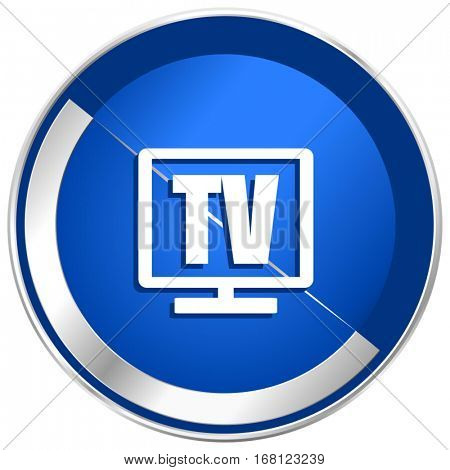 Tv silver metallic web and mobile phone vector icon in eps 10.