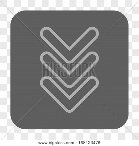 Triple Pointer Down interface toolbar button. Vector icon style is a flat symbol on a rounded square button light gray and gray colors chess transparent background.