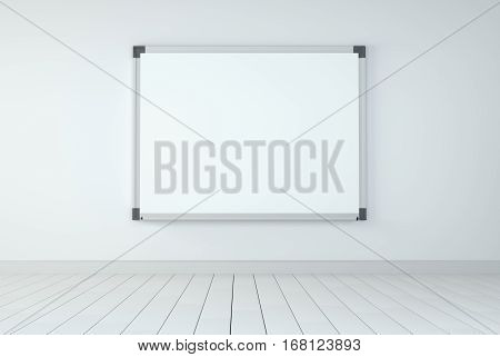 White board In Room With Wooden Floor And White Wall, 3D rendering