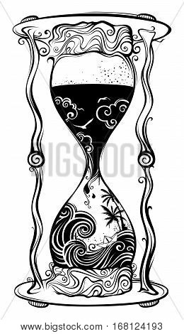 Water sandglass. Black and white hand-drawn illustration.
