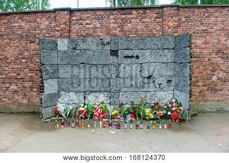 Memorial At Death Wall In Auschwitz