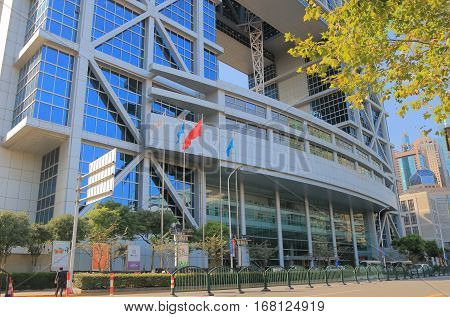 SHANGHAI CHINA - NOVEMBER 1, 2016: Shanghai Stock Exchange building. Shanghai Stock Exchange one of the two stock exchanges operating independently in China.