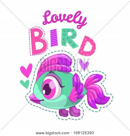 Cute childish illustration with bird patch for girl t shirts graphic design. Lovely girlish print.