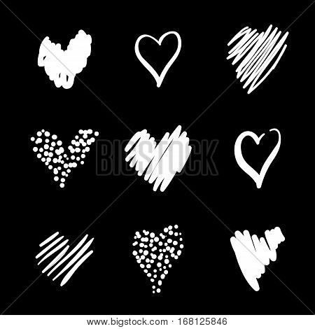 Set hearts drawn by hand in a careless style. Romantic collection. For the holiday of lovers, Valentines day, wedding invitations, and other. White hearts on black background.